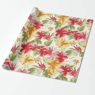 Tropical Hibiscus Hawaiian Floral Wrapping Paper