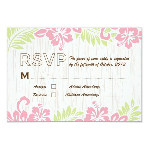 "Tropical Hibiscus Hawaiian RSVP 3.5"" X 5"" Invitation Card"