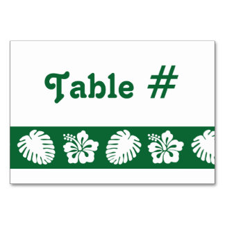 Tropical Hibiscus in Green Table Card
