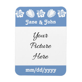 Tropical Hibiscus in Periwinkle Reminder Magnet