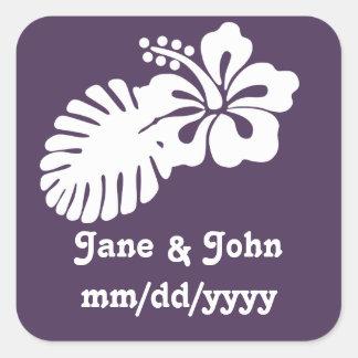 Tropical Hibiscus in Purple Sticker