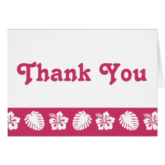 Tropical Hibiscus in Raspberry Thank You Card