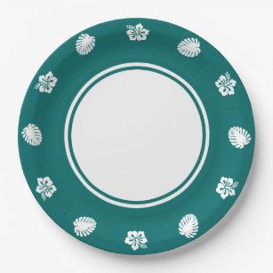 Tropical Hibiscus in Teal Paper Plate  sc 1 st  Zazzle & Hibiscus Design Plates | Zazzle