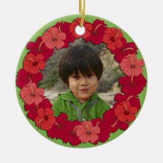 Tropical Hibiscus Lei Photo Ornament