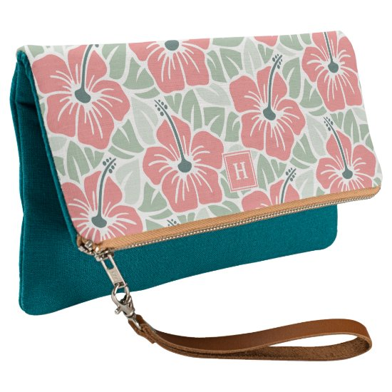 Tropical Hibiscus Monogram Clutch