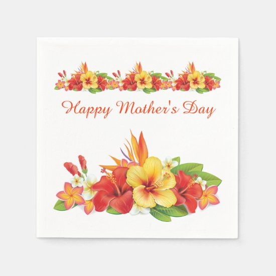 Tropical Hibiscus Mother's Day Paper Napkins