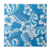 Tropical Hibiscus Pattern Ceramic Tile