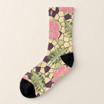 Tropical Hibiscus Pattern - Pink Socks