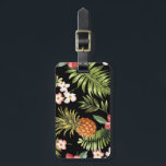 """Tropical Hibiscus Pineapple Travel Luggage Tag<br><div class=""""desc"""">Personalize your bags with our beautiful hawaiian tropical flowers luggage tags featuring pretty pink &amp; white hibiscus flowers with tropical palm tree leaves pattern and a pineapple. We have designed our tropics luggage tag with a transparent background making it EASY TO CHANGE THE BACKGROUND COLOR - just click on the...</div>"""