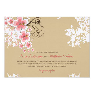 Tropical Hibiscus Pink Beach Wedding Invitation Personalized Announcement