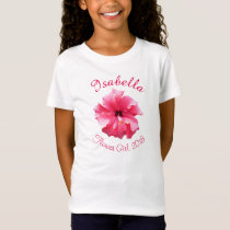 Tropical Hibiscus Pink Flower Girl T-Shirt