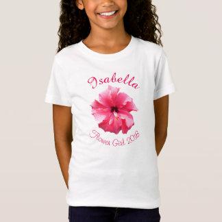 Tropical Hibiscus Pink Flower Girl T-Shirt