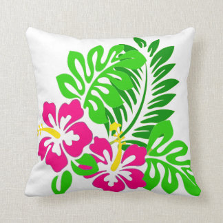 Tropical hibiscus Pink green Flower throw pillow