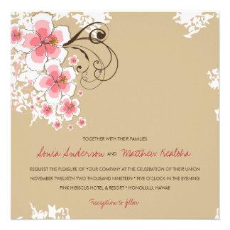 Tropical Hibiscus Pink Luau Beach Wedding Invite Custom Announcements