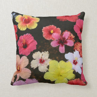 Tropical hibiscus Pink Yellow Flower throw pillow