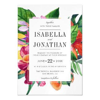 Tropical Hibiscus, Plumeria & Palm | Wedding Magnetic Card