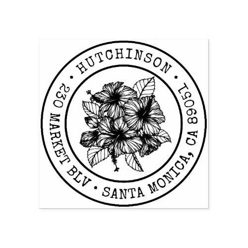 Tropical Hibiscus Round Family Name Return Address Rubber Stamp