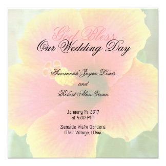 Tropical Hibiscus Square Wedding Program Template