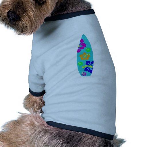 Tropical Hibiscus Surfboard Pet Shirt