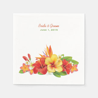 Tropical Hibiscus Wedding Paper Napkins