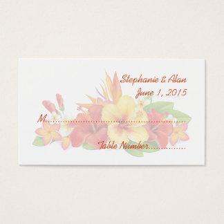 Tropical Hibiscus Wedding Place Cards