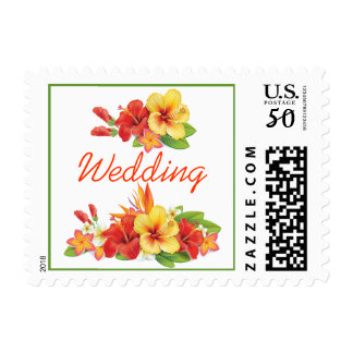 Tropical Hibiscus Wedding Postage