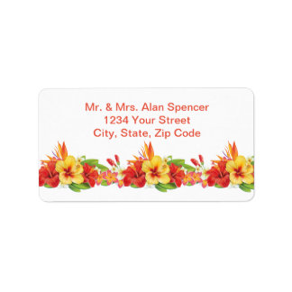 Tropical Hibiscus Wedding Return Address Labels