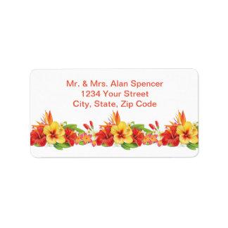 Tropical Hibiscus Wedding Return Address Labels