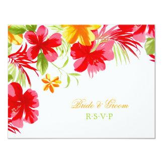 Tropical Hibiscus Wedding RSVP card