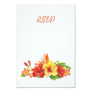 Tropical Hibiscus Wedding RSVP Card