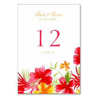 Tropical Hibiscus Wedding Table Number Card Table Cards