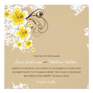 Tropical Hibiscus Yellow Beach Luau Wedding Invite Invites