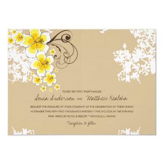 Tropical Hibiscus Yellow Beach Wedding Invite