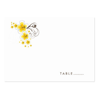 Tropical Hibiscus Yellow Beach Wedding Place Card Large Business Cards (Pack Of 100)