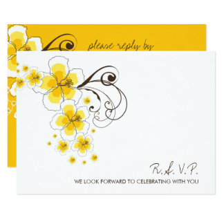 Tropical Hibiscus Yellow Beach Wedding RSVP Card