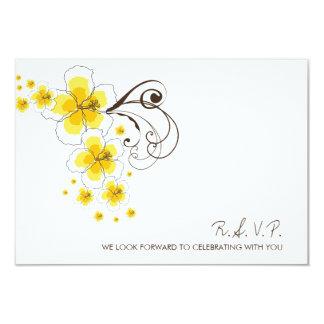 Tropical Hibiscus Yellow Beach Wedding RSVP Card