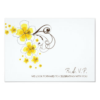 Tropical Hibiscus Yellow Beach Wedding RSVP Reply 3.5x5 Paper Invitation Card