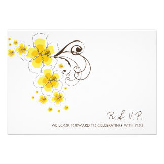 Tropical Hibiscus Yellow Beach Wedding RSVP Reply Personalized Announcement