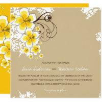 Tropical Hibiscus Yellow Luau Beach Wedding Invite
