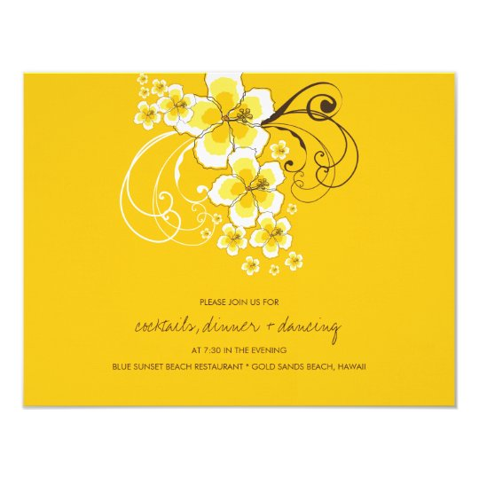 Tropical Hibiscus Yellow Wedding Reception Card