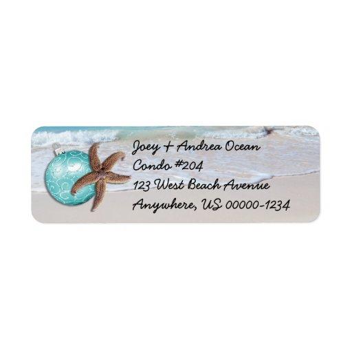 tropical holiday ocean starfish return address label