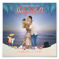 Tropical Holiday Palms & Beach Scene Overlay Photo Print