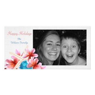 Tropical Holiday Plumeria and Starfish Photo Card