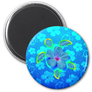 Tropical Honu Turtle and Hibiscus 2 Inch Round Magnet