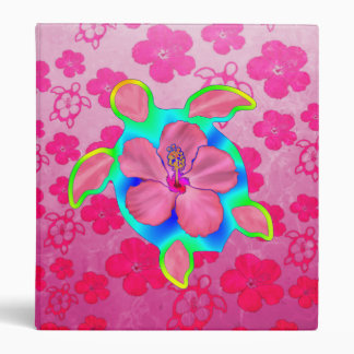 Tropical Honu Turtle and Hibiscus Binder