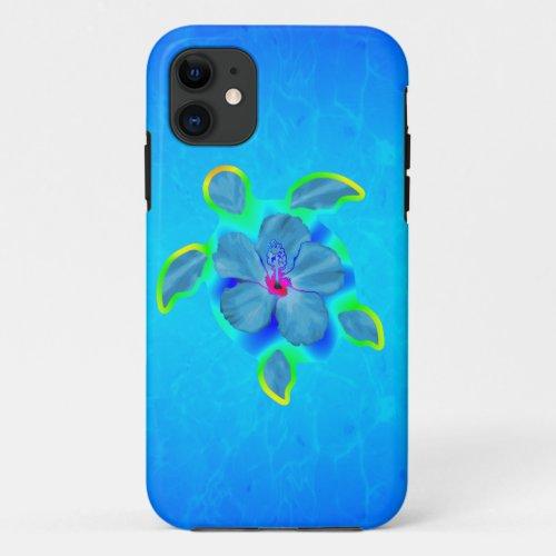 Tropical Honu Turtle and Hibiscus Phone Case