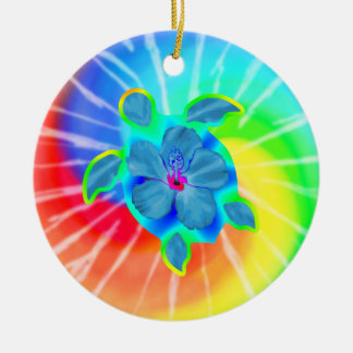 Tropical Honu Turtle and Hibiscus Ceramic Ornament