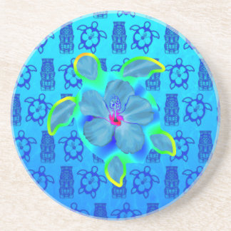 Tropical Honu Turtle and Hibiscus Drink Coaster
