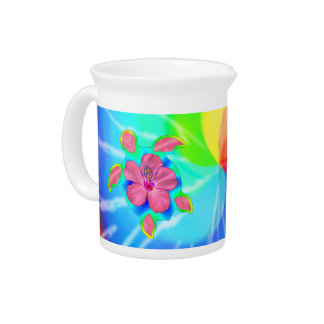 Tropical Honu Turtle and Hibiscus Drink Pitcher