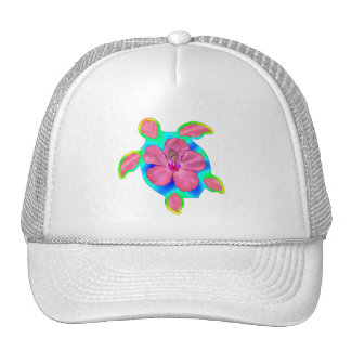 Tropical Honu Turtle and Hibiscus Mesh Hat
